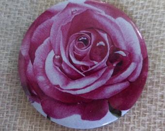 Rose mirror, rose, pink, watercolour, pocket mirror, handbag mirror, small round