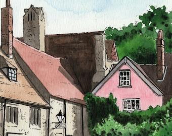 Abingdon print, Unicorn Theatre, Abbey buildings, Abingdon Bridge, mounted print, pen and ink, ink and watercolour, Oxfordshire, Giantmousie