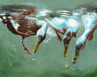 Ducks, Mallard ducks, ducks diving, diving, underwater, acrylic paint, acrylics, art print, limited edition