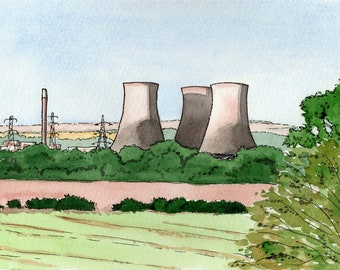 Didcot print, Didcot Power Station, cooling towers, mounted print, pen and ink, ink and watercolour, Oxfordshire, Giantmousie