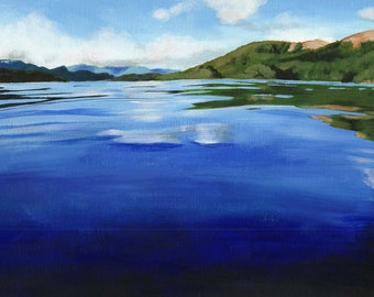 Coniston, Lake District, Lakes, Coniston Water, reflections, acrylic paint, acrylics, art print, limited edition
