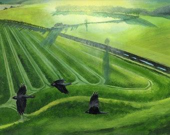 Jackdaws, rooks, crows, corvids, birds, The Ridgeway, flying, acrylic paint, acrylics, art print, limited edition