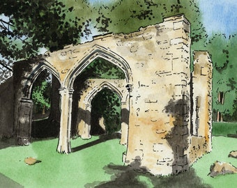 Abingdon print, Trendell's Folly, Abbey ruins, Abbey Gardens, mounted print, pen and ink, ink and watercolour, Oxfordshire, Giantmousie