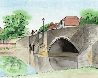 Abingdon print, Burford Bridge, Abingdon Bridge, mounted print, pen and ink, ink and watercolour, Oxfordshire, Giantmousie