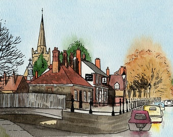 Abingdon print, Old Anchor Inn, country pubs, riverside pubs, mounted print, pen and ink, ink and watercolour, Oxfordshire, Giantmousie