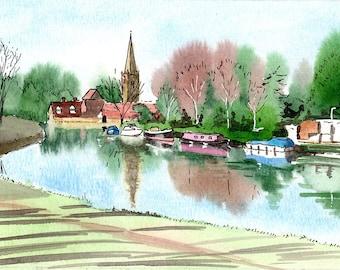 Abingdon print, St Helen's Church, River Thames, Abingdon Bridge, reflections, mounted print, pen and ink, Oxfordshire, Giantmousie
