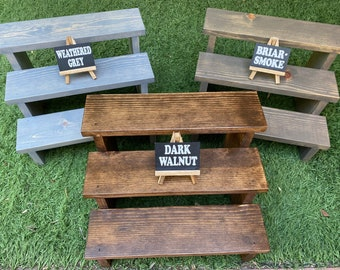 3-tier dessert stairs ~ cup cake steps ~ birthday ~ wedding ~ wooden cupcake display ~plant stand ~ party table decor ~ Rustic wood holder