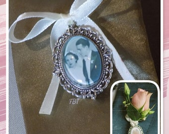 Memorial oval for the groom with brooch pin in silver, gold, bronze or rose gold