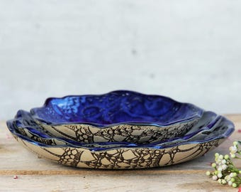 Nesting bowls blue, set of 3 bowls, ceramic bowls, handmade bowls, tableware, dinnerware, home decor, cobalt blue, snack bowls