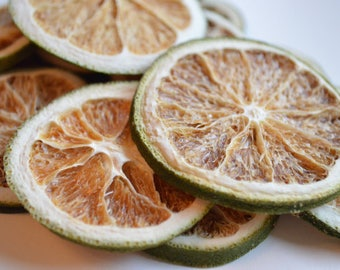 Twelve Natural Dried Lime Slices ~ Yule / Christmas Decorations