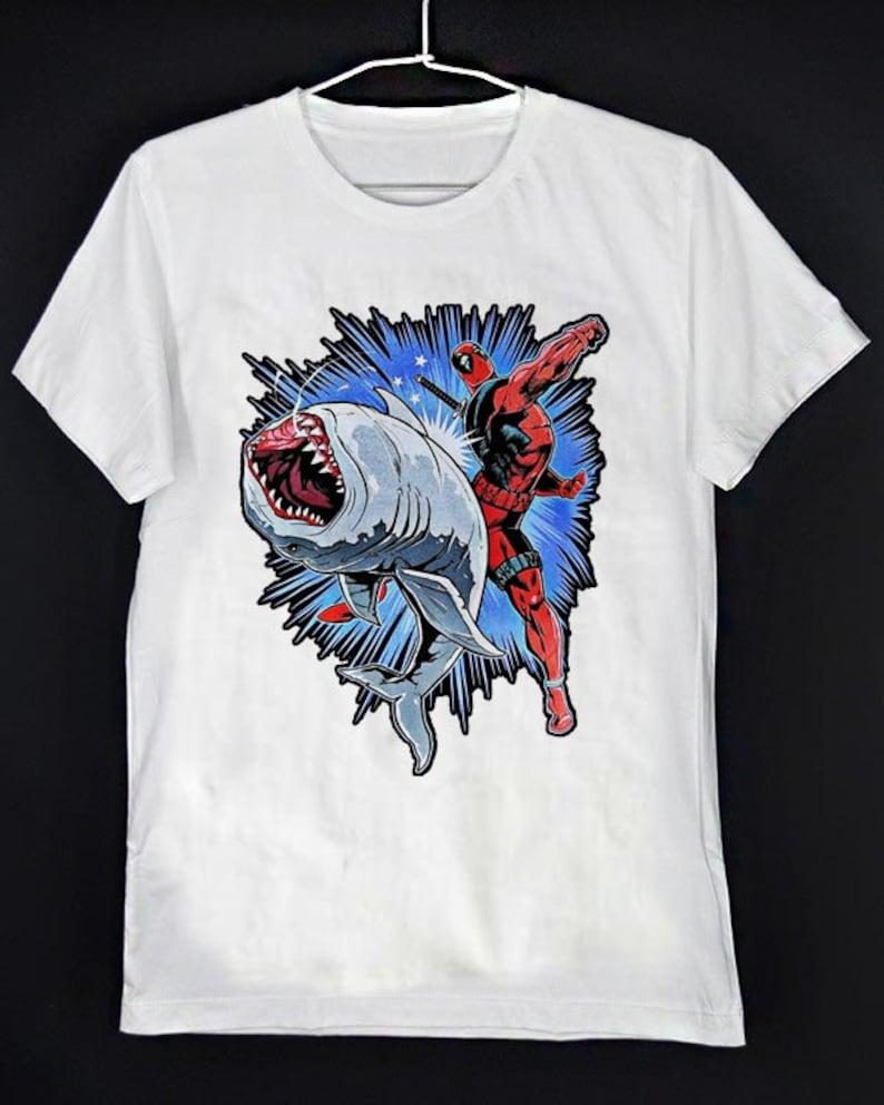 Funny Deadpool Punch Shark Parody Tshirt Deadpool T Shirt Etsy