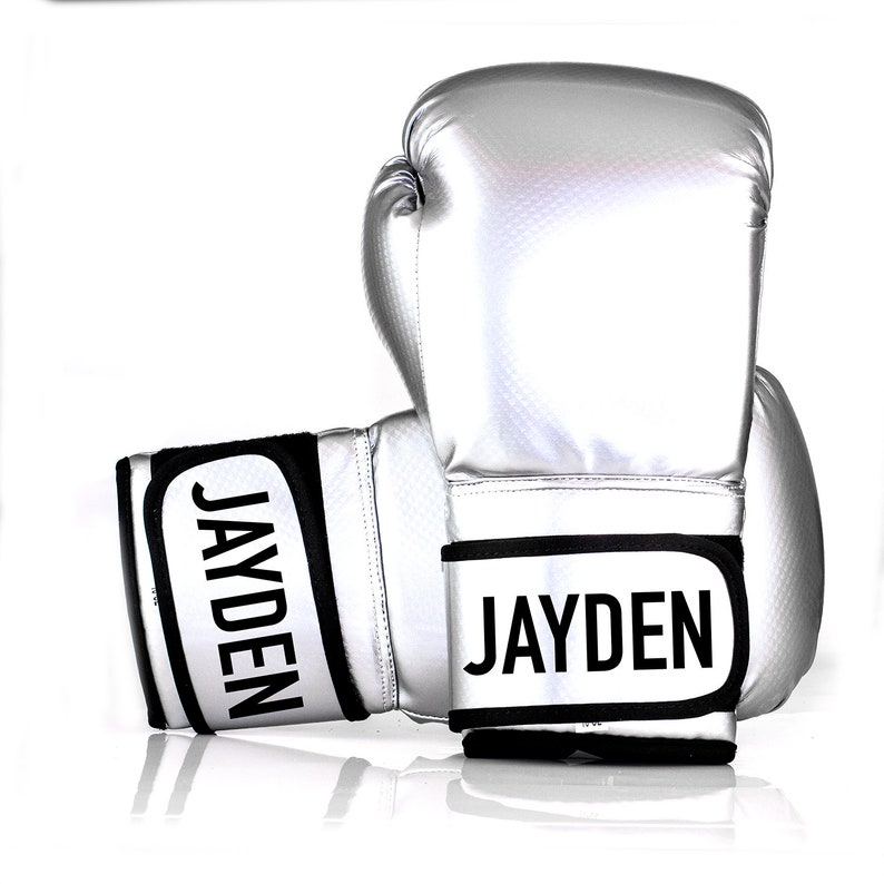 Personalized Silver Boxing Gloves - Kids