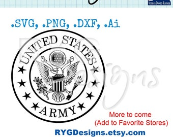 Layered Army Branch Seal and Ornament Graphic