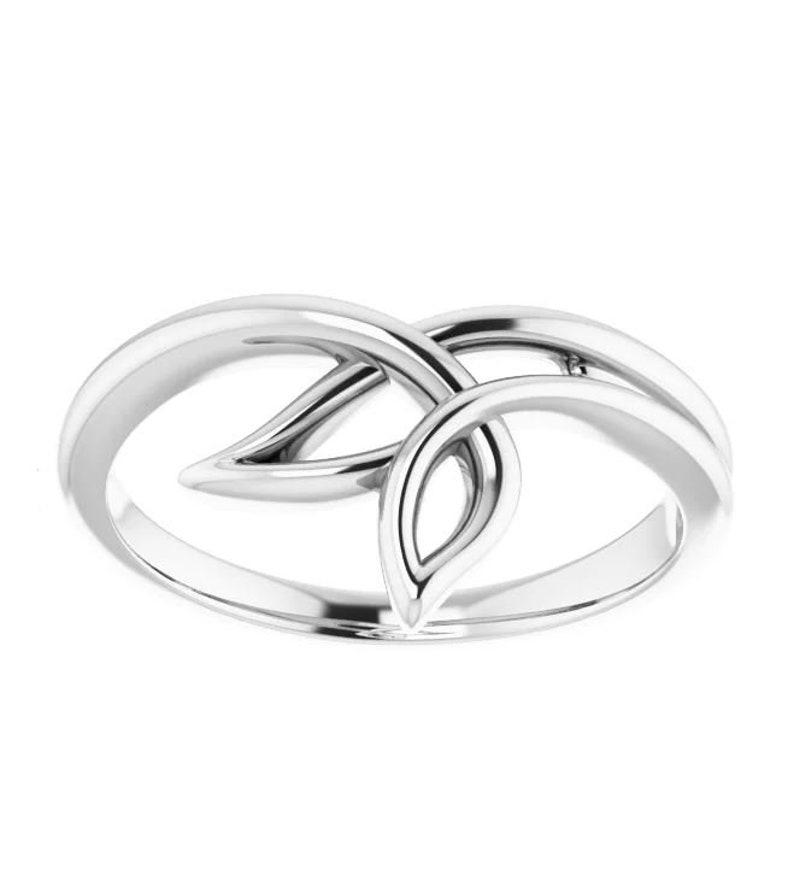 Sterling Silver 3 Leaf Freeform Ring