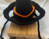 Hand crocheted, cat hat, black witches hat, pet costume, cat hat, dog hat, handmade
