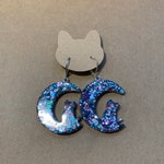 Kitty and moon resin glitter earrings, one of a kind, resin and glitter, cat lover earrings
