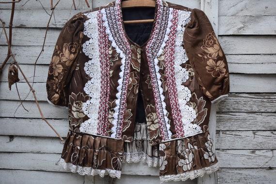 Antique (1930's) Hungarian Brown Brocade Jacket, c