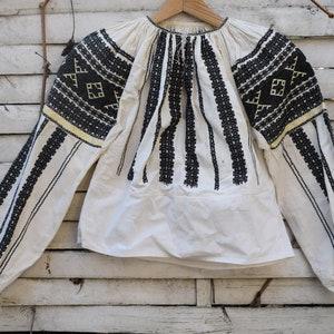 Antique blouse  Transylvanian embroidered linen  hemp peasant blouse  folk shirt costume