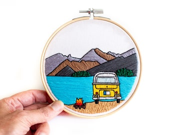 Vanlife Camping Pattern/ Contemporary Hand Embroidery Pattern PDF by Jen Ann Handmade / #jenannhandmade / Digital Embroidery Pattern