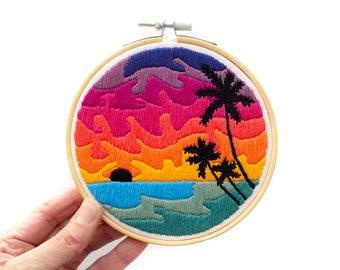 Ocean Palms Pattern March 2019 / Contemporary Hand Embroidery Pattern PDF by Jen Ann Handmade / #jenannhandmade / Digital Embroidery Pattern
