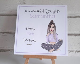 Handmade Personalised Teenage Girls Birthday Card Daughter Granddaughter Friend Niece 15th 16th 17th