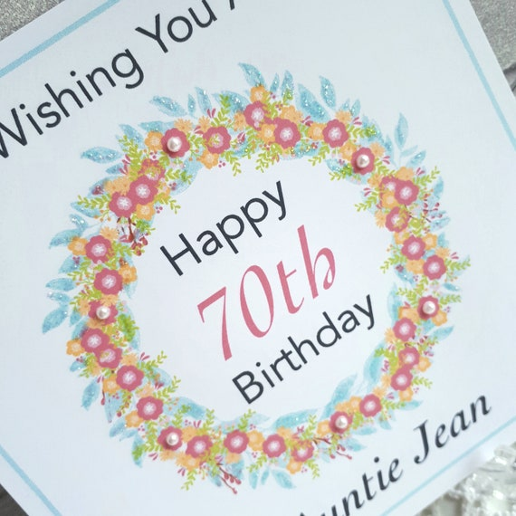 70th Birthday Card For A Female Personalised And Handmade