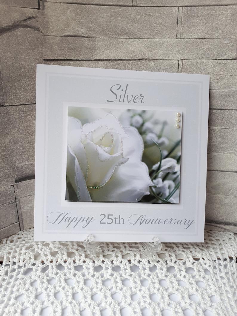 Silver Wedding Anniversary Card Handmade 25th Wedding Anniversary Silver Anniversary Card For Parents Husband Or Wife