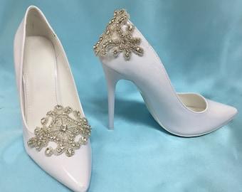e3c7186134 Bridal Shoe Clips, Wedding Shoe Clips, Bridal Shoe Accessory, Wedding Shoe  Accessory, Silver Shoe Clips, Rhinestone Shoe Clips