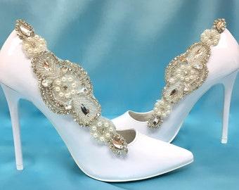 34959259aa Bridal Shoe Clips, Wedding Shoe Clips, Bridal Shoe Accessory, Wedding Shoe  Accessory, Silver Shoe Clips, Rhinestone Shoe Clips