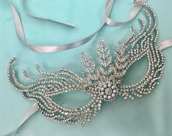 Silver Masquerade Mask, Silver Lace Mask, Mardi Gras Mask, Costume Party Mask