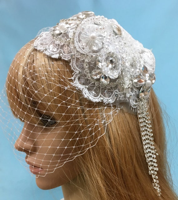 ce830ab6058 Wedding Veil Hat Wedding Veil Cap Wedding Lace Hat Bridal