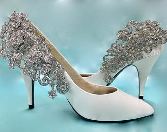Bridal Shoe Clips, Wedding Shoe Clips, Bridal Shoe Accessory, Wedding Shoe Accessory, Silver Shoe Clips, Rhinestone Shoe Clips
