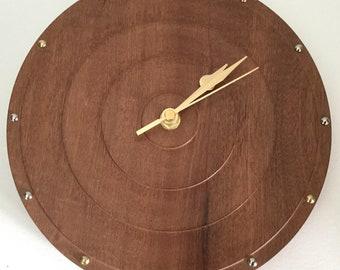 Unique African Sapele quartz wall clock 216mm in diameter