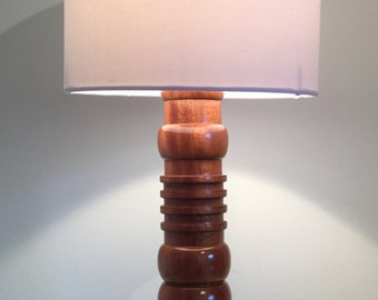 Unique African Sapele table lamp base 345mm in height.