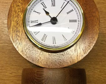 Unique small African Sapele wooden clock 140mm in height