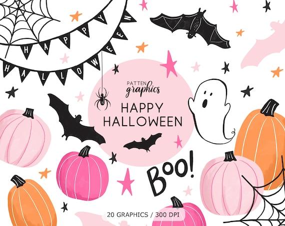 Cute Halloween Clipart Pink Halloween Clipart Pink Pumpkin Etsy