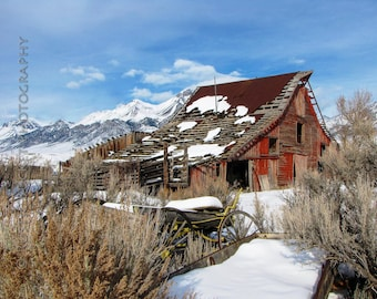 Rustic Red Barn and Wagon