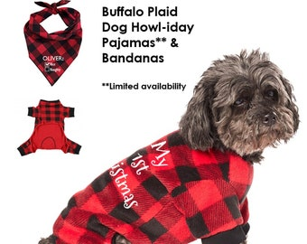 christmasholiday buffalo plaid dog pajamas bandana