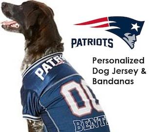 d235b946251 New England Patriots Pet Dog Jersey, Bandana, Collar, Bed - Personalized