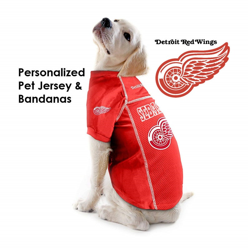 the latest be518 b9a31 Detroit Red Wings NHL Dog Jersey - Personalized