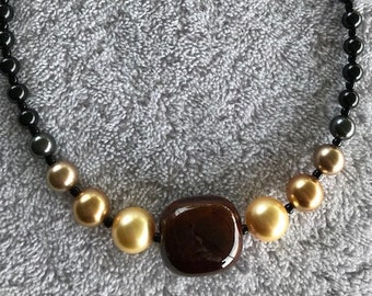 Necklace Featuring Mahogany Centerpiece