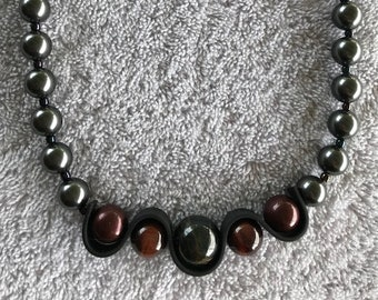 Necklace Featuring Multicolored Tiger Eye Beads