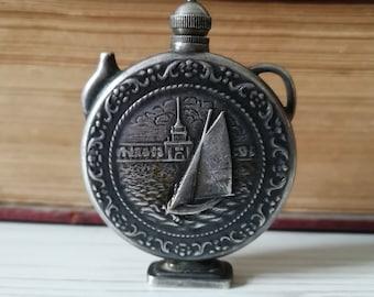 Old Russian Miniature Perfume Bottle 875 Silver Flask USSR