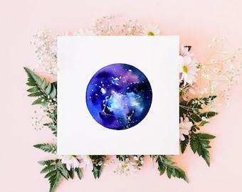 Gemini greeting card / star sign card / watercolour art / blank card / original watercolour print / square fine art card