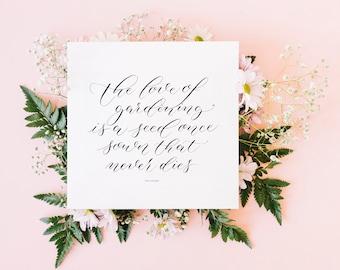 Gardening Quote greeting card / Modern Calligraphy card / blank card / handmade card