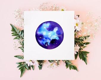 Virgo greeting card / star sign card / watercolour art / blank card / original watercolour print / square fine art card