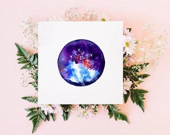 Sagittarius greeting card / star sign card / watercolour art / blank card / original watercolour print / square fine art card