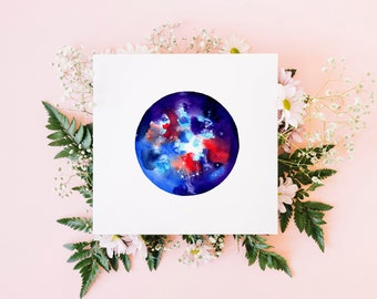 Scorpio greeting card / star sign card / watercolour art / blank card / original watercolour print / square fine art card