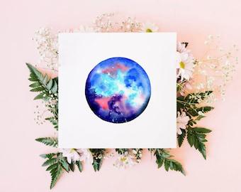Taurus greeting card / star sign card / watercolour art / blank card / original watercolour print / square fine art card