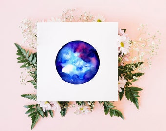 Cancer greeting card / star sign card / watercolour art / blank card / original watercolour print / square fine art card